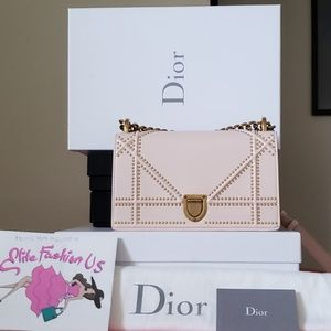 New Dior Diorama pink gold studded small bag